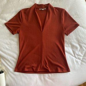 Burnt Orange/Rust blouse with flattering neckline